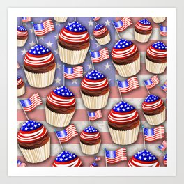 USA Flag Cupcakes Pattern