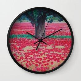 Olive Tree in Poppy Field Wall Clock