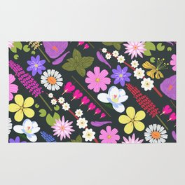 Flowers and mint Rug