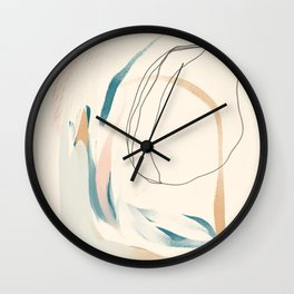 Abstract Lines On Cream. Wall Clock