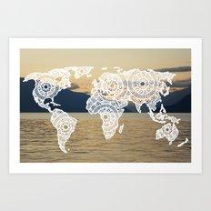 Lake View Map Art Print