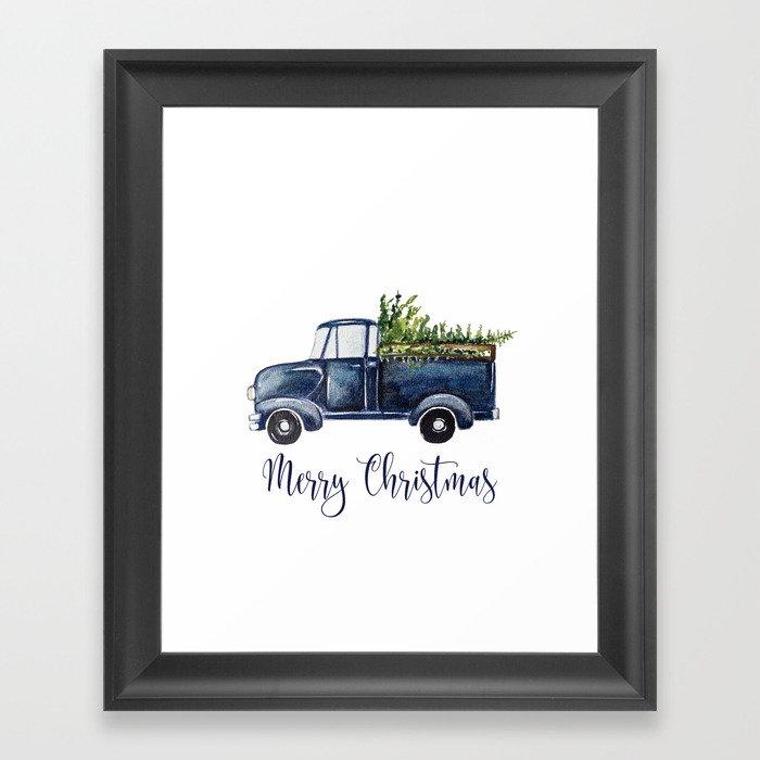 Blue Christmas Truck Gerahmter Kunstdruck