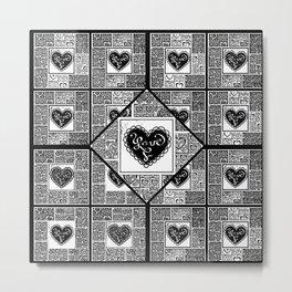 Big hearted Love (black and white) Metal Print