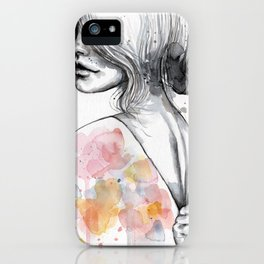 Implosion, watercolor with ink iPhone Case