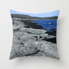 Barnacle Rocks at Acadia Throw Pillow