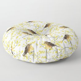 Mimosa and birds Floor Pillow