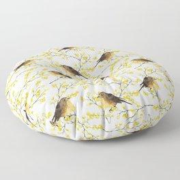 Mimosa and birds Floor Pillow