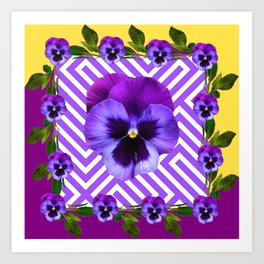 ABSTRACT YELLOW  CONTEMPORARY LILAC PURPLE PANSIES Art Print