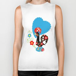 Portuguese Rooster of Luck with blue dots Biker Tank