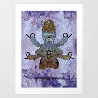hindu Art Prints featuring Hindu Sloth by mmyes