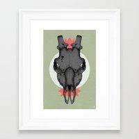 animal skull Framed Art Prints featuring ANIMAL SKULL by Stefania Grippaldi