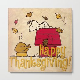 Thanksgiving Snoopy Metal Print
