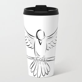 Soaring Dove Clutching Staff Front Drawing Travel Mug