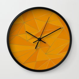 Yellow metal low poly background Wall Clock
