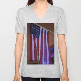 American Patriotic & Blue light Unisex V-Neck