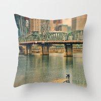 portlandia Throw Pillows featuring Lovers Under the Bridge by Danielle Denham