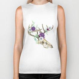 Bohemian deer skull and antlers with flowers Biker Tank