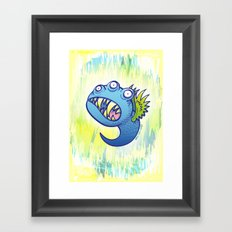 Terrific winged little blue monster Framed Art Print