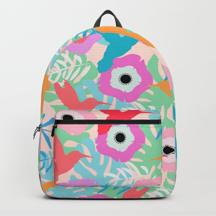 Flowers and hummingbirds Backpack