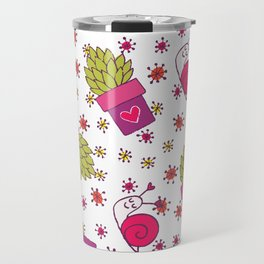 Abstract neon pink green funny snail cactus floral Travel Mug