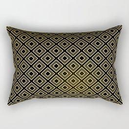 Art Deco Black Diamond and Antique Gold Pattern Rectangular Pillow