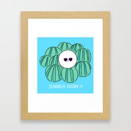 Cute Bichon frise dog with watermelon background. character design Framed Art Print