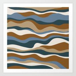 Cordillera Stripe: Teal Blue & Rusty Orange Combo Art Print