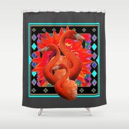 CHARCOAL GREY ART DECO SAFFRON FLAMINGOS ART Shower Curtain