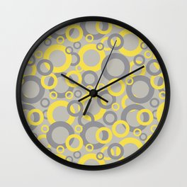 Funky Ring Pattern 2 V8 Color of the year Illuminating Yellow, Ultimate Gray and Lead Crystal  Wall Clock