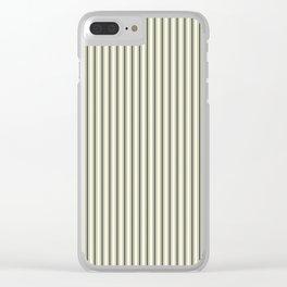 Mattress Ticking Narrow Striped Pattern in Dark Black and Beige Clear iPhone Case