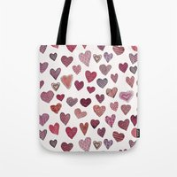 artsy Tote Bags featuring Artsy Hearts by Shifra Whiteman
