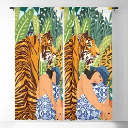Awaken The Tiger Within Illustration, Wildlife Nature Wall Decor, Jungle Human Nature Connection Blackout Curtain