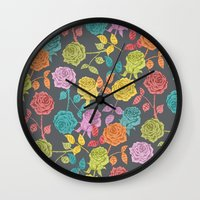 roses Wall Clocks featuring ROSES by Bianca Green
