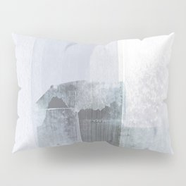 Blue Grey Minimalist Abstract Painting Pillow Sham
