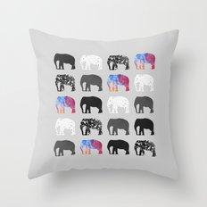 Five elephants Throw Pillow