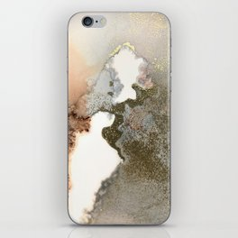 Abstract ink painting of black, pink and gold iPhone Skin