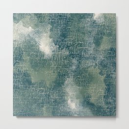 Grunge Abstract Art in Teal, Olive Green and Cream Metal Print