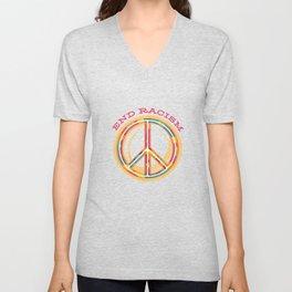 End Racism Peace Sign Unisex V-Neck
