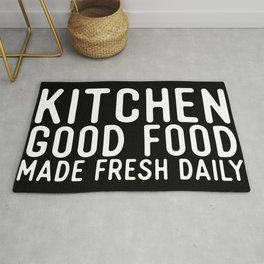 Kitchen Good Food Made Fresh Daily Sign Rug