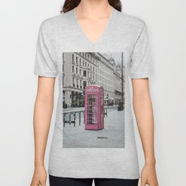 Pink Telephone Booth Romantic Photography Unisex V-Neck
