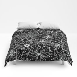 Floral Pattern Black and White Comforters