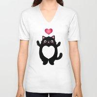 fat V-neck T-shirts featuring Fat Cat by Anna Alekseeva kostolom3000
