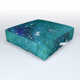 Watercolor galaxy - teal Outdoor Floor Cushion