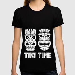 Fun Tiki Time Gift Design Hawaiian Island  Print T-shirt