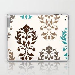 Heart Damask Art I Browns Teal Cream Laptop & iPad Skin