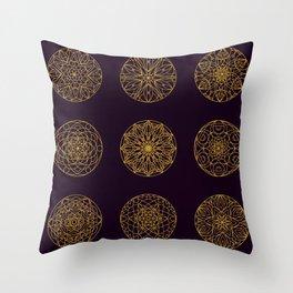 Sacred geometry Mandala seamless pattern 14 Throw Pillow