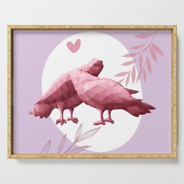 Low poly art with two kissing pigeons, pink pigeons silhouettes, valentines day love art print  Serving Tray