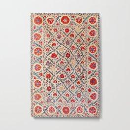 Kermina Suzani Uzbekistan Floral Embroidery Print Metal Print