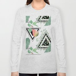 Pears, leaves geometric black and white background. Long Sleeve T-shirt