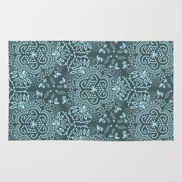 Hand-Drawn Symmetric Teal floral Rug